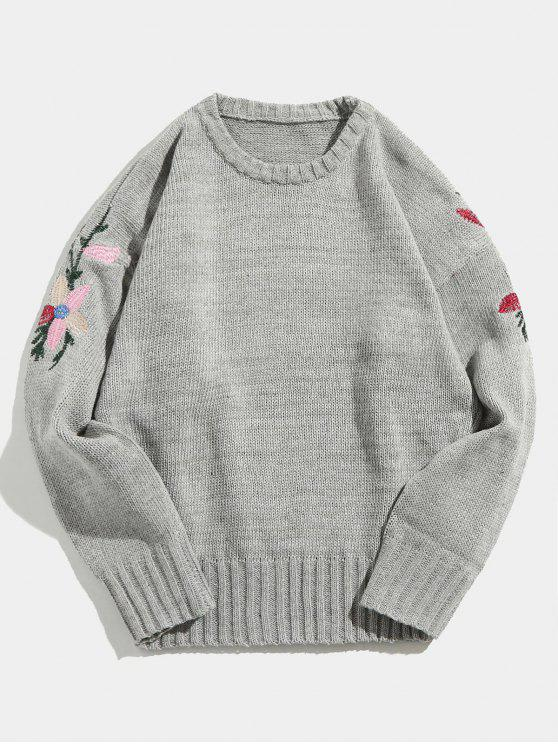 45 Off 2018 Flower Embroidered Knitted Sweater In Gray Xl Zaful