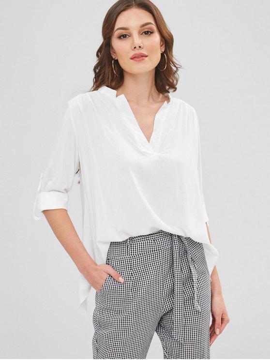 buy Roll Tab Sleeve V Neck Shirt - WHITE S