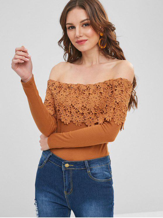 trendy Lace Overlay Ribbed Off The Shoulder Top - LIGHT BROWN M