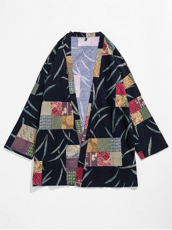 women Flax Chinese Style Printed Kimono - MULTI-B L
