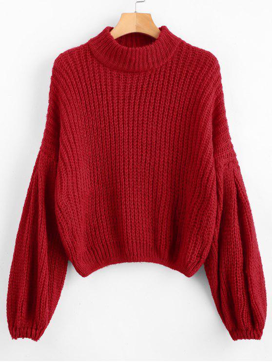 3513b6db345f00 34% OFF] 2019 Loose Knit Balloon Sleeve Sweater In RED WINE | ZAFUL