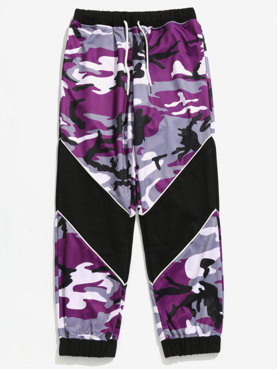 trendy Drawstring Camouflage Pattern Jogger Pants - PURPLE IRIS XL