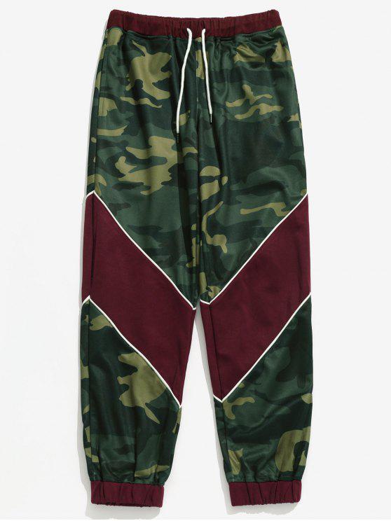 Calças de jogger de padrão de camuflagem com cordão - Exército verde XL