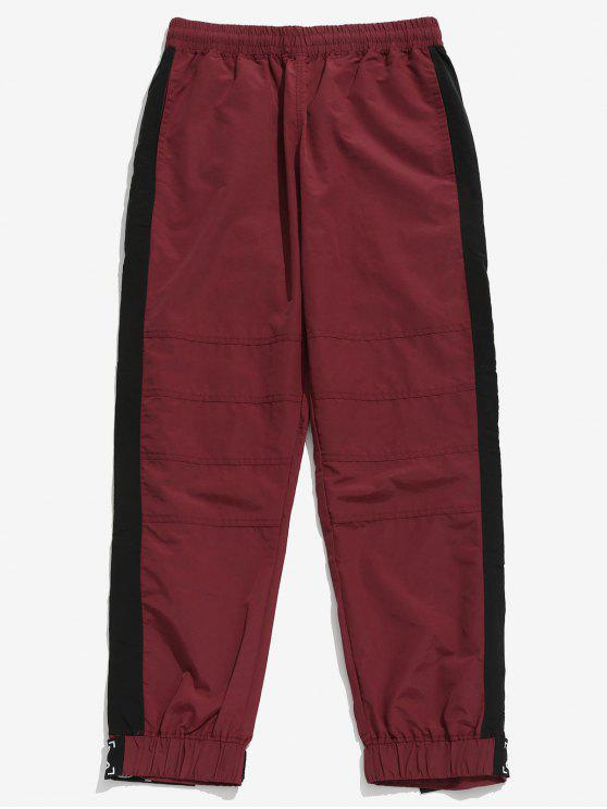 lady Drawstring Contract Color Jogger Pants - RED WINE XL