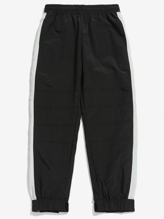 shops Drawstring Contract Color Jogger Pants - BLACK XL