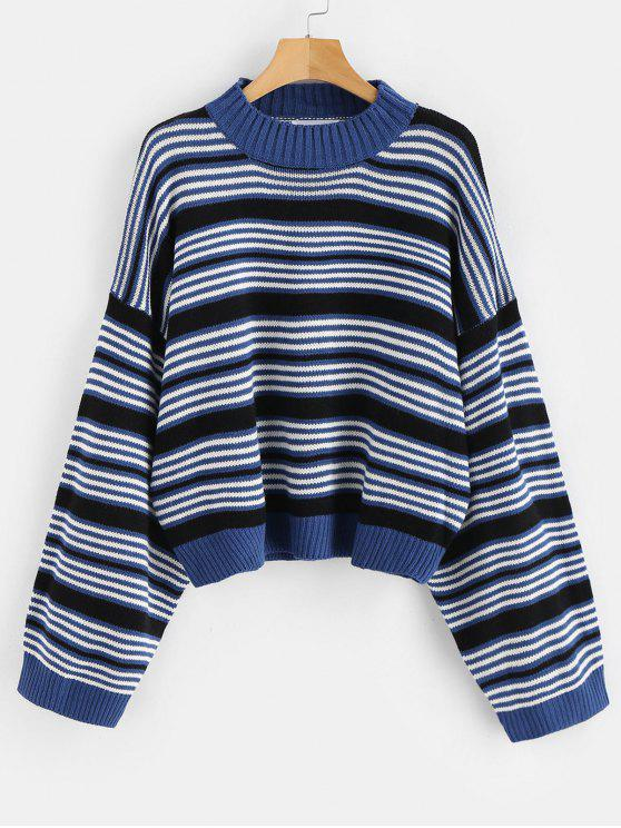fashion Drop Shoulder Oversized Stripes Sweater - MULTI ONE SIZE