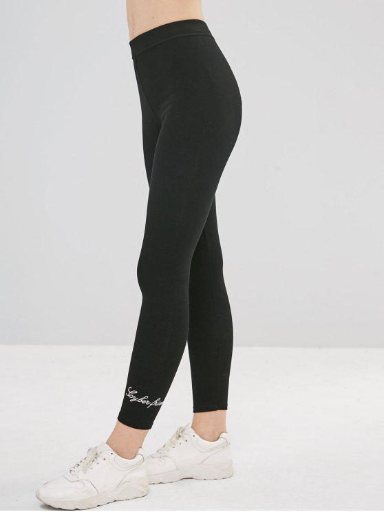 Leggings de calças justas bordadas - Preto Um Tamanho