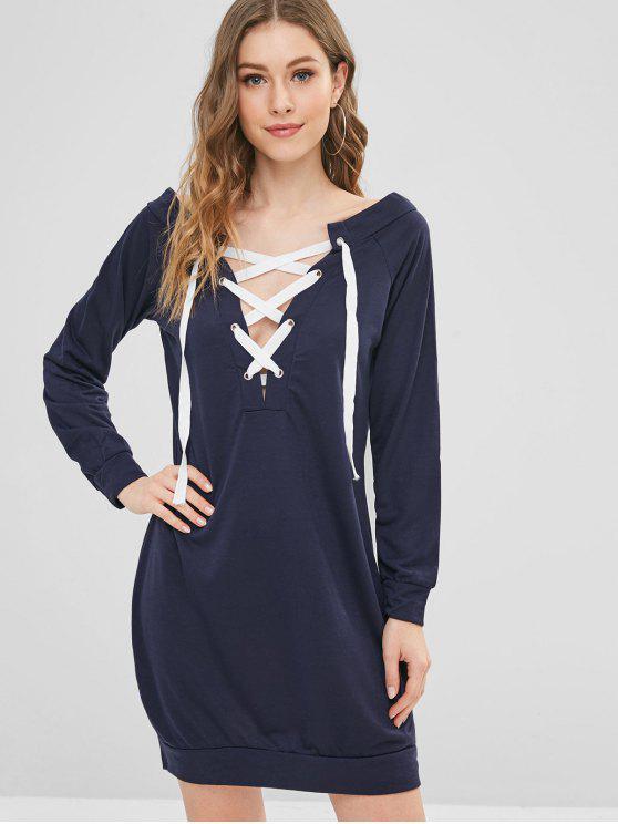 affordable Long Sleeve Lace Up Shift Mini Dress - DEEP BLUE S