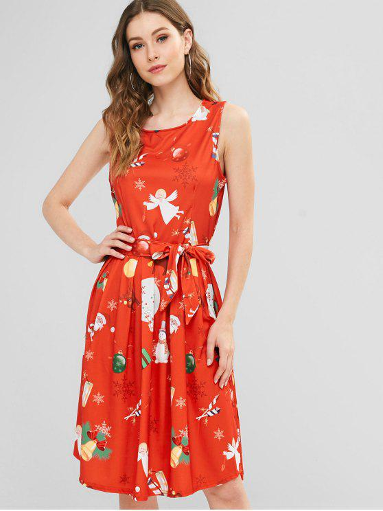 shop Box Pleat Printed Fit and Flare Christmas Dress - MULTI XL
