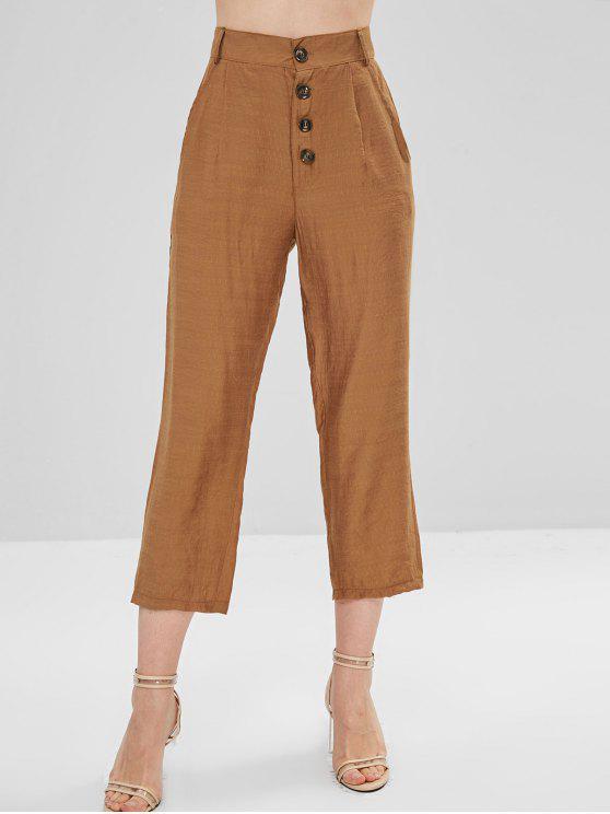 Bolsos laterais abotoados acima das calças afiladas - Marrom claro L