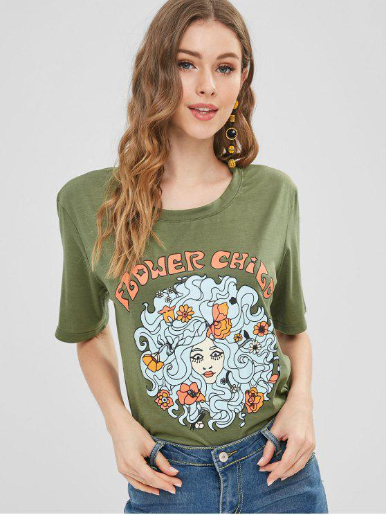 d62066bf 24% OFF] 2019 Girl Floral Print Graphic Tee In ARMY GREEN | ZAFUL