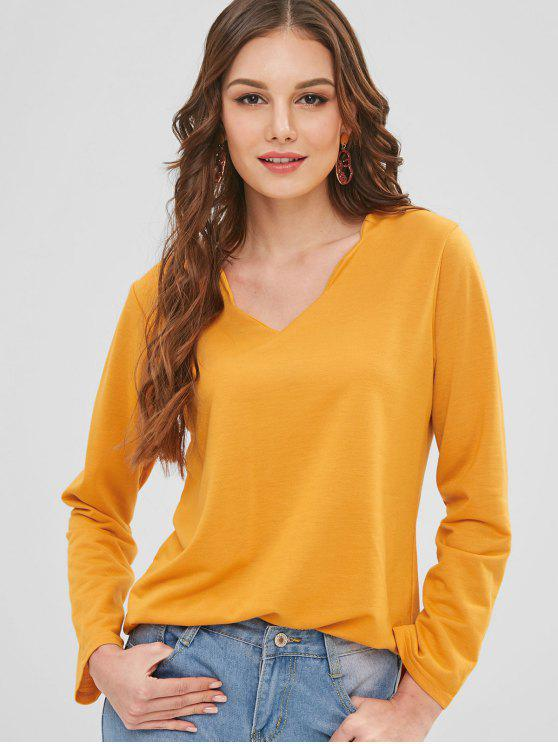 outfits Long Sleeve Scalloped V Neck Top - MUSTARD L