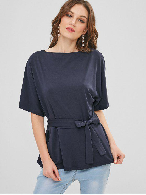 lady Belted Dolman Sleeve Top - MIDNIGHT BLUE XL