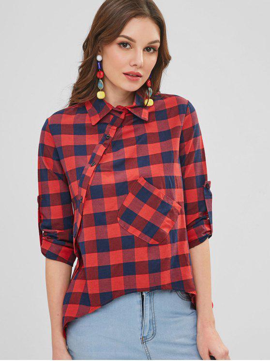 Camisa de manta diagonal do bolso do remendo de Placket - Multi XL