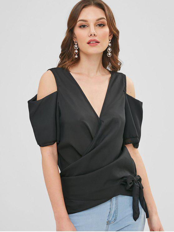 d1c5c660c0be86 29% OFF  2019 Wrap Tie Cold Shoulder Top In BLACK