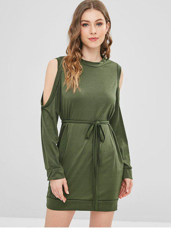 Lange Ärmel Kalt Schulter T-Shirt Kleid - Armeegrün L