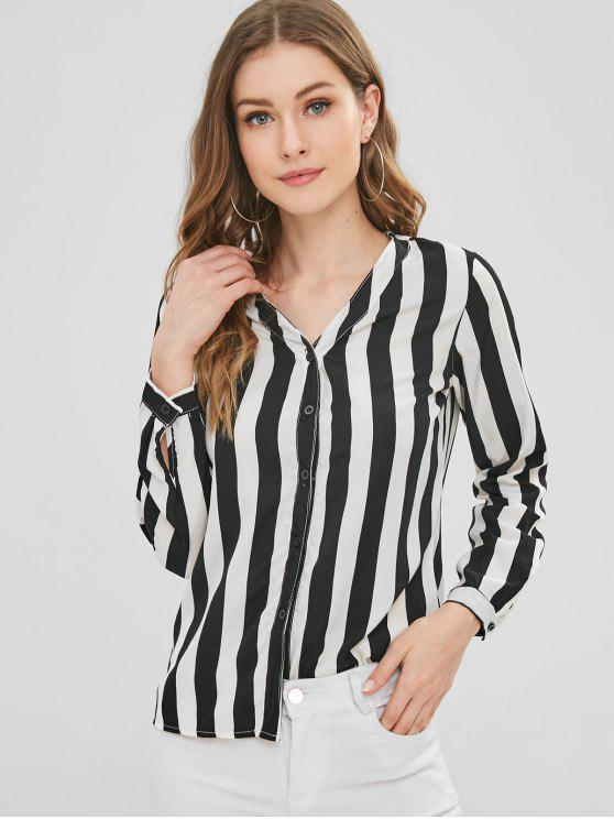 best Striped V Neck Button Up Top - MULTI S