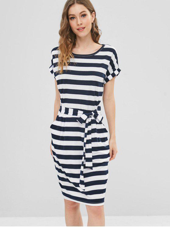 Vestido a rayas con lazo en la cintura - Multicolor S