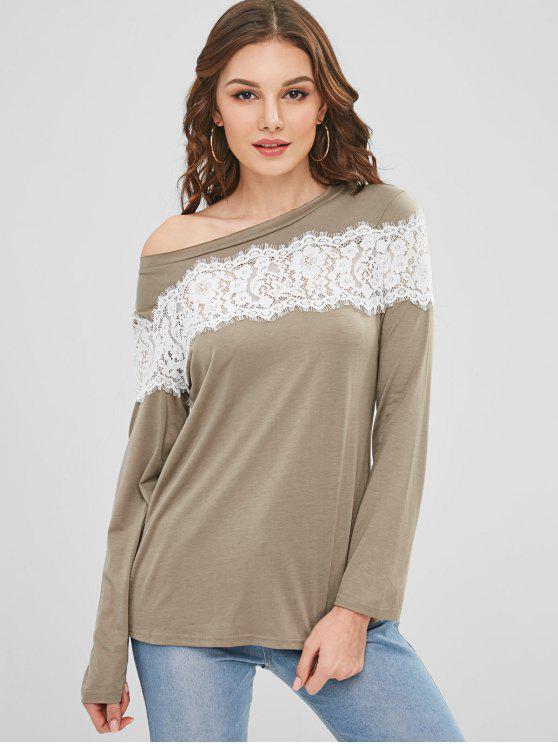 Lace Inset Langarm T-Shirt - Dunkles Khaki L