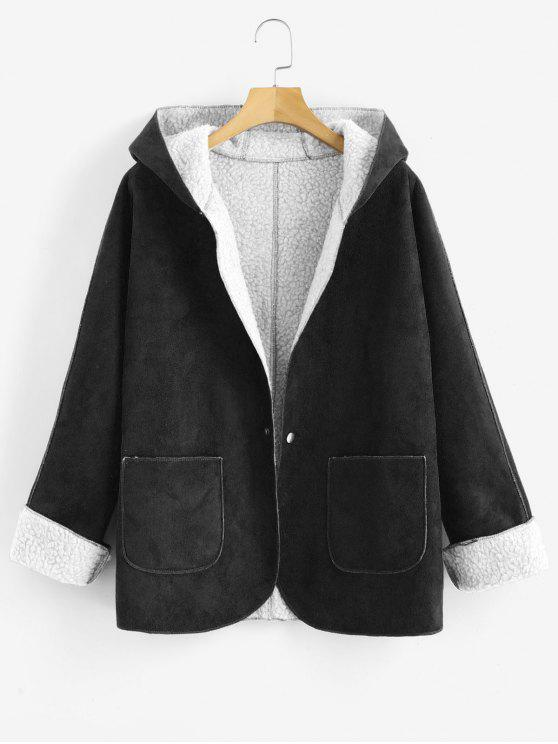 women Cuffed Sleeves Hooded Sheepskin Coat - BLACK XL
