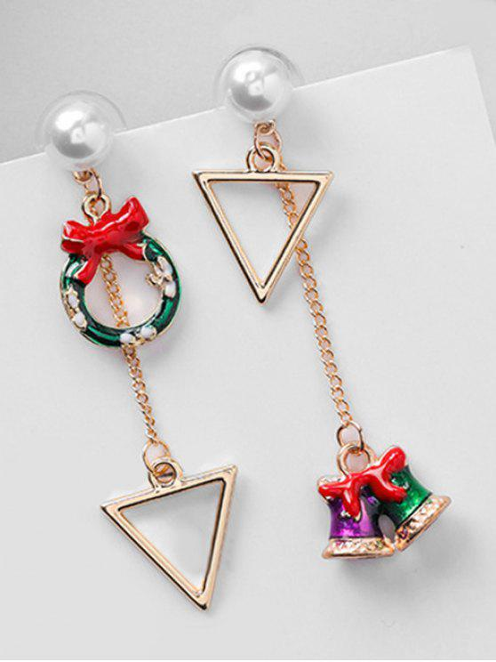 new Asymmetric Christmas Bell Hollow Earrings - RED