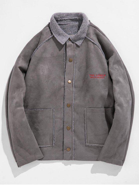 Carta retro bordar chaqueta de lana - Gris XL