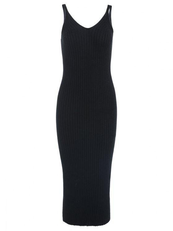 Vestido de suéter midi correa de espagueti con cuello en V - Negro Talla única