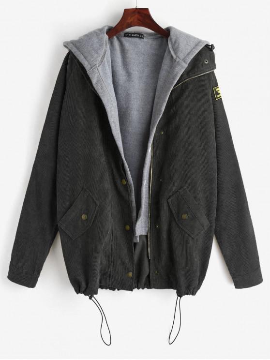 Hot 2019 Zaful Fleece Vest And Corduroy Jacket Twinset In Black M