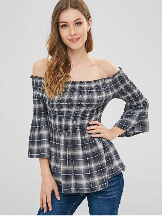 best Off The Shoulder Smocked Plaid Top - MULTI XL