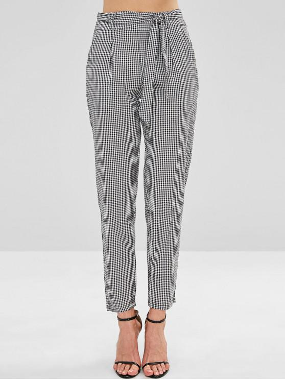 hot Gingham Belted Tapered Pants - MULTI L