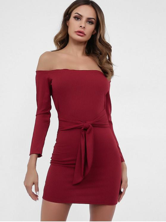 hot Off Shoulder Knotted Plain Knit Dress - RED WINE M