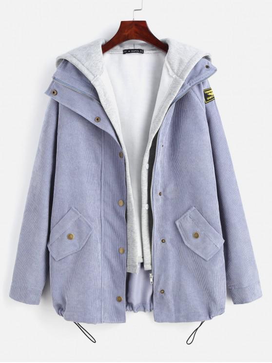 trendy ZAFUL Fleece Vest and Corduroy Jacket Twinset - SLATE BLUE S