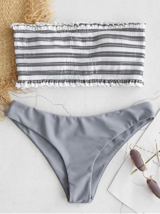 new ZAFUL Stripe Smocked Bandeau Bikini Set - GRAY CLOUD M