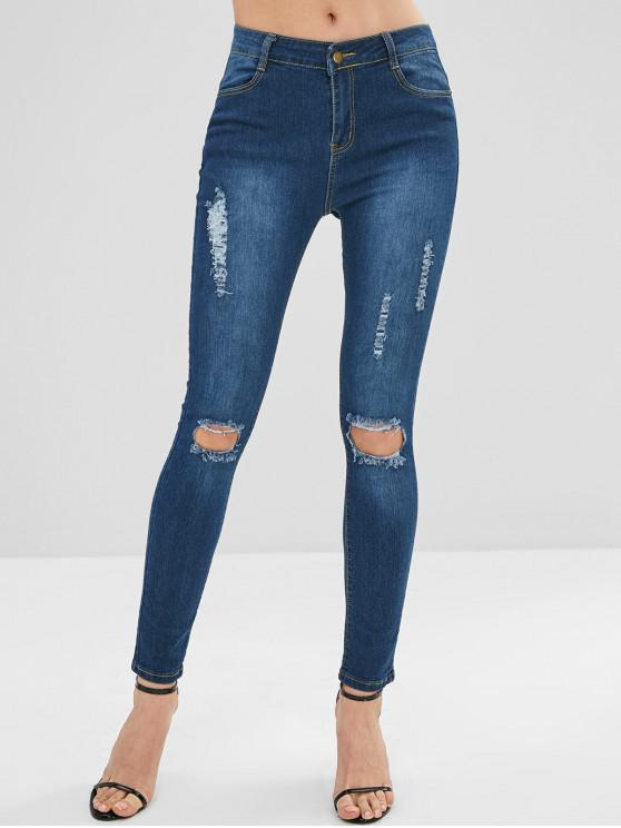 fashion Dark Wash Skinny Ripped Jeans - DENIM DARK BLUE M