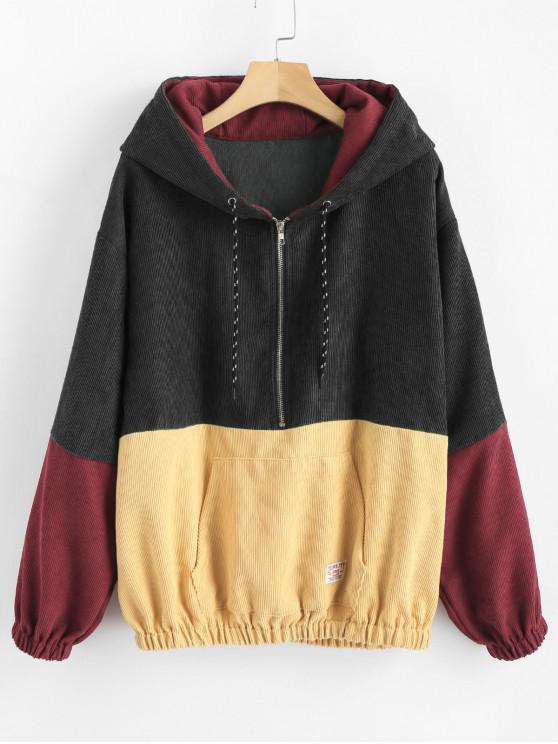 shop Front Pocket Contrast Corduroy Hoodie - MULTI-A M