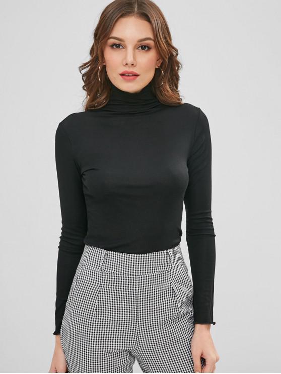 lady High Collar Long Sleeve Basic Layering Tee - BLACK ONE SIZE