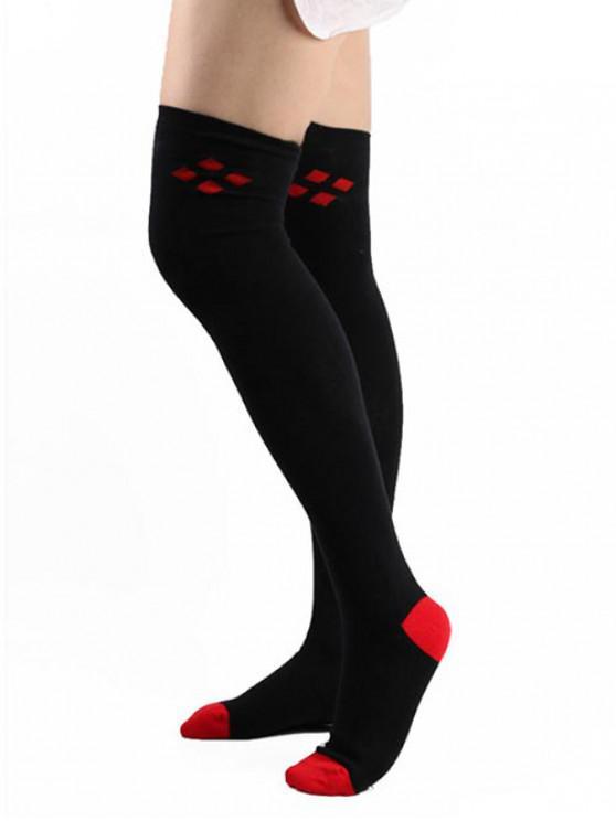 latest Vintage Rhombus High Knee Socks - BLACK