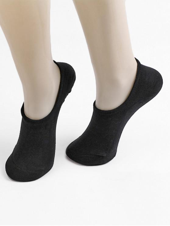 Non-slip Cotton No Show Socks - أسود
