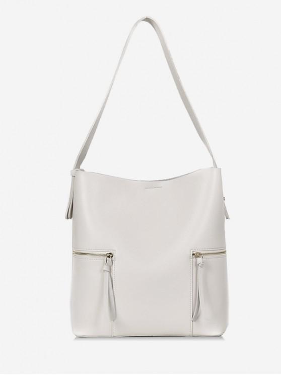 women 2Pcs Magnet Hook PU Leather Shoulder Bag - WHITE