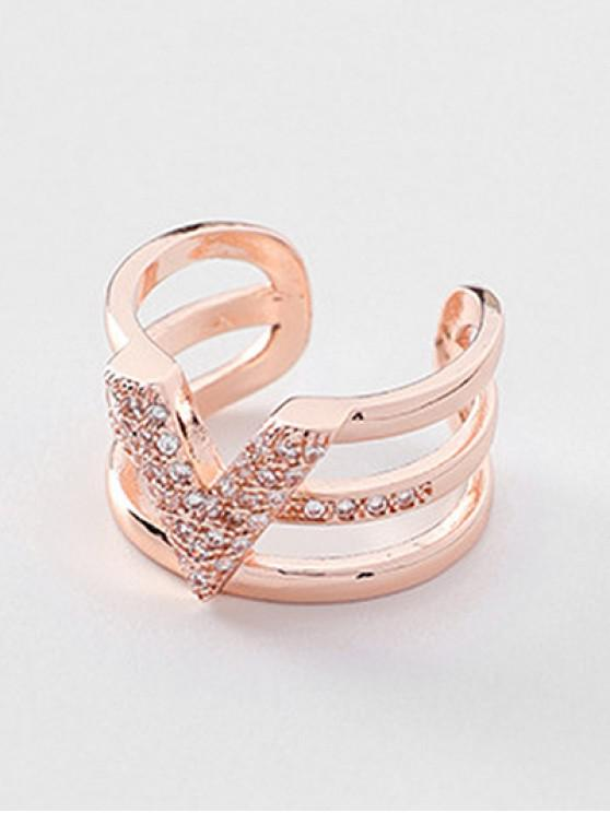 latest Layered Minimalist Faux Crystal Inlaid Ring - ROSE GOLD