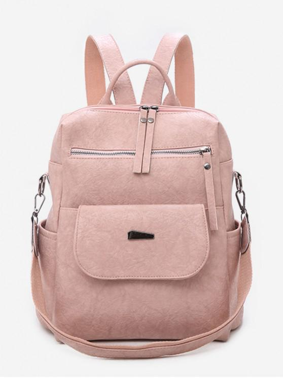 Solid Color Design PU School Backpack - وردي فاتح