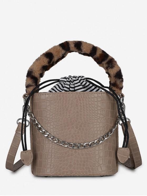 Mini Leopard Pattern Bucket Tote Bag - ضوء كاكي