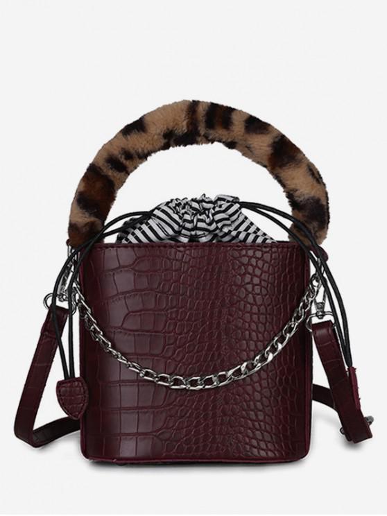 Mini Leopard Pattern Bucket Tote Bag - نبيذ احمر