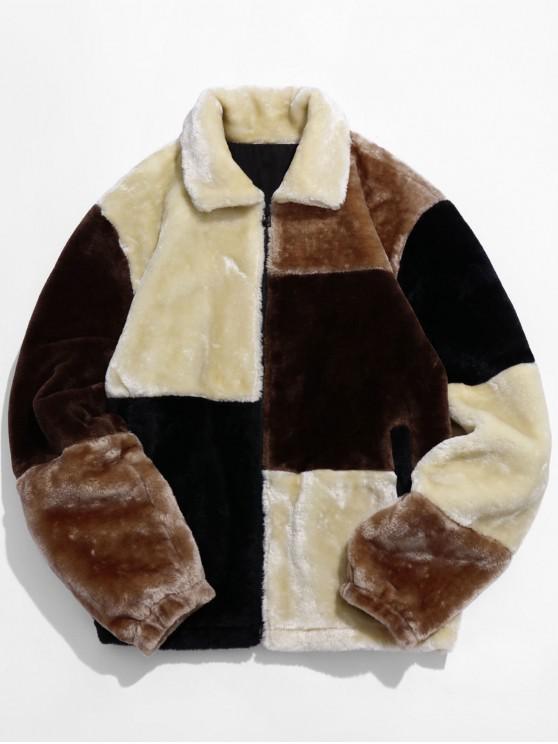 ZAFUL Color Block Jacke aus Kunstpelz - Multi-A 2XL