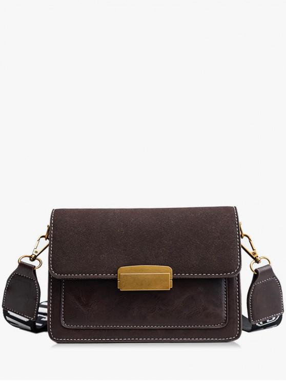 Scrub Leather Cover Design Crossbody Bag - القهوة العميقة