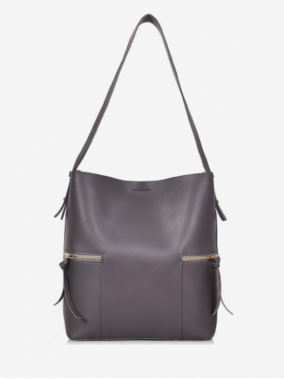 fancy 2Pcs Magnet Hook PU Leather Shoulder Bag - GRAY