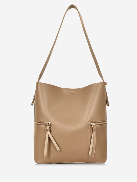 latest 2Pcs Magnet Hook PU Leather Shoulder Bag - CAMEL BROWN