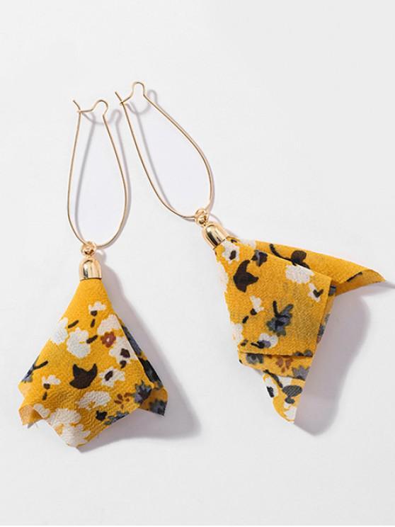 ladies Layered Chiffon Floral Tassel Hook Earrings - YELLOW