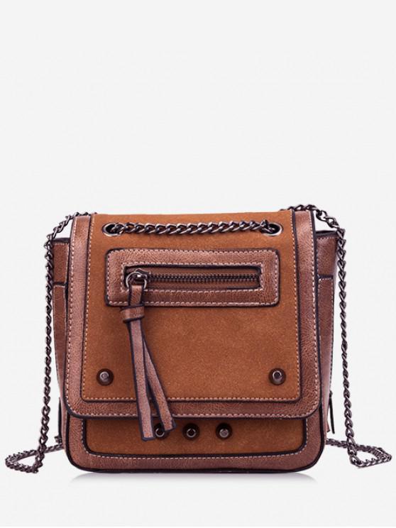 Link Chain Magnet Snap Design Crossbody Bag - بنى