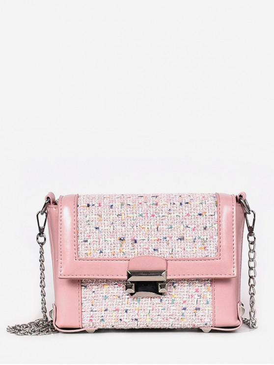 fancy Link Chain Cover Design Crossbody Bag - LIGHT PINK
